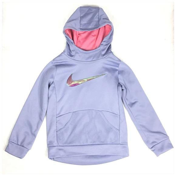 Nike Other - Nike Dri Fit Therma Hoodie Girls Purple Swoosh NWT